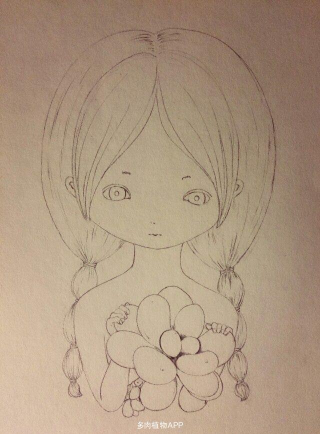 素描画画素材少女