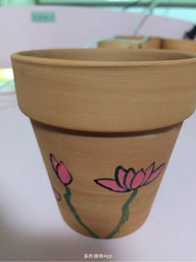 diy手绘红陶盆