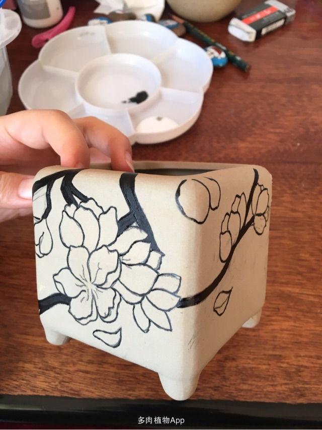 (感谢加精)桃花手绘花盆步骤图~丙烯画画出国画效果~你们喜欢么~有
