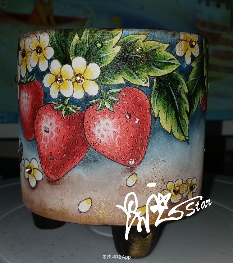 可口的草莓画盆手绘过程